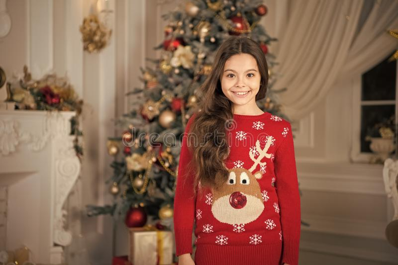 Happy new year. Christmas. Kid enjoy the holiday. small happy girl at christmas. The morning before Xmas. New year. Holiday. little child girl likes xmas stock images