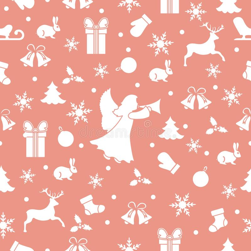 Happy New Year 2019 and Christmas seamless pattern vector illustration
