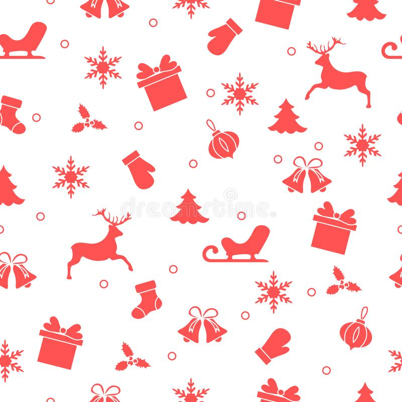 Happy New Year 2019 and Christmas seamless pattern stock illustration