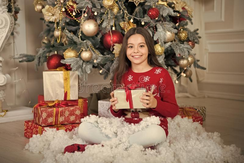 Happy new year. Christmas shopping. The morning before Xmas. waiting for santa. Xmas. Cute little child girl with xmas. Present. christmas family holiday. Are stock photos