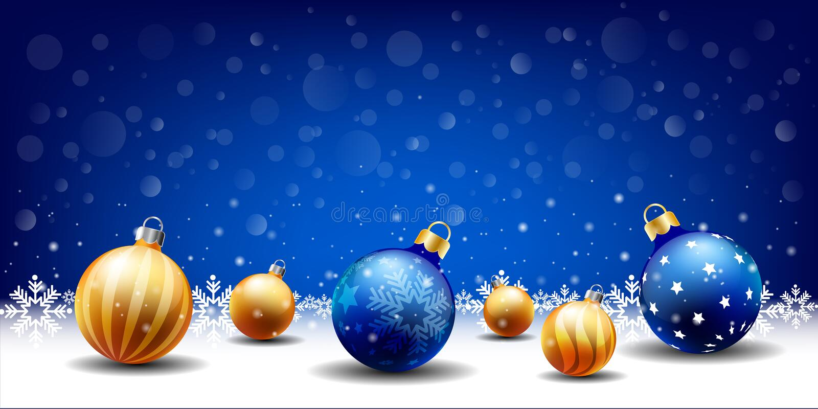 Happy New Year Christmas snowing Ball background, Text input box,Blue background vector illustration