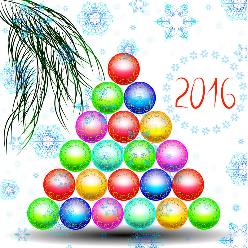 Happy new year with Christmas tree of Christmas toys royalty free stock image