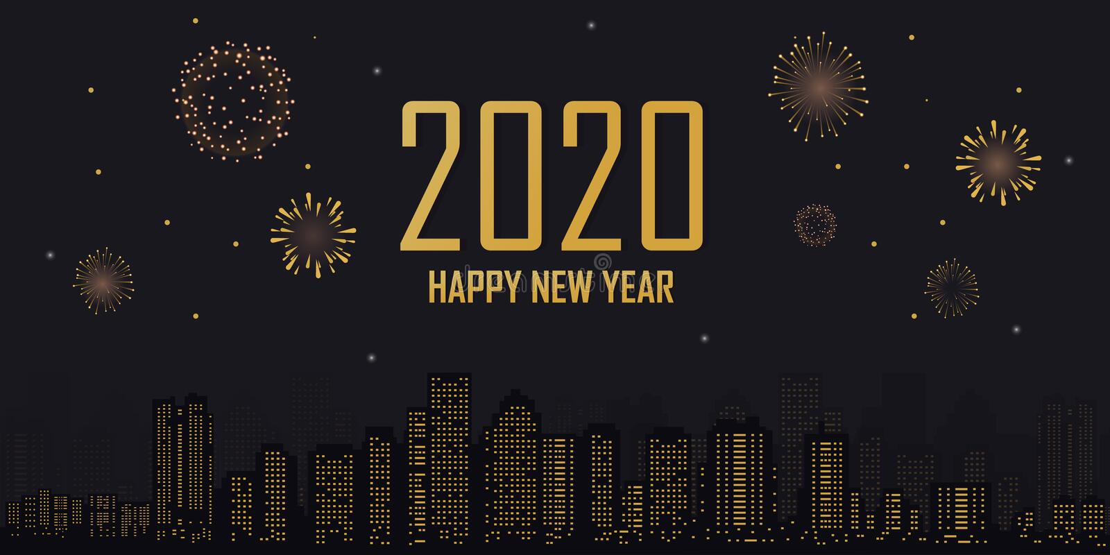 Happy new year 2020 city background with fireworks in the night stock photography