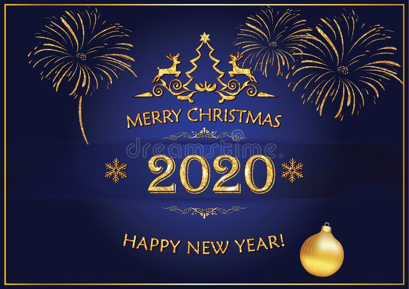 Happy New Year 2020 - classic greeting card with golden text and decorations on a blue background vector illustration