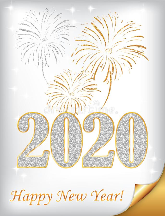 Happy New Year 2020 - classic greeting card with white / silver background. Merry Christmas and Happy New Year 2020 - classic greeting card with golden text on a vector illustration