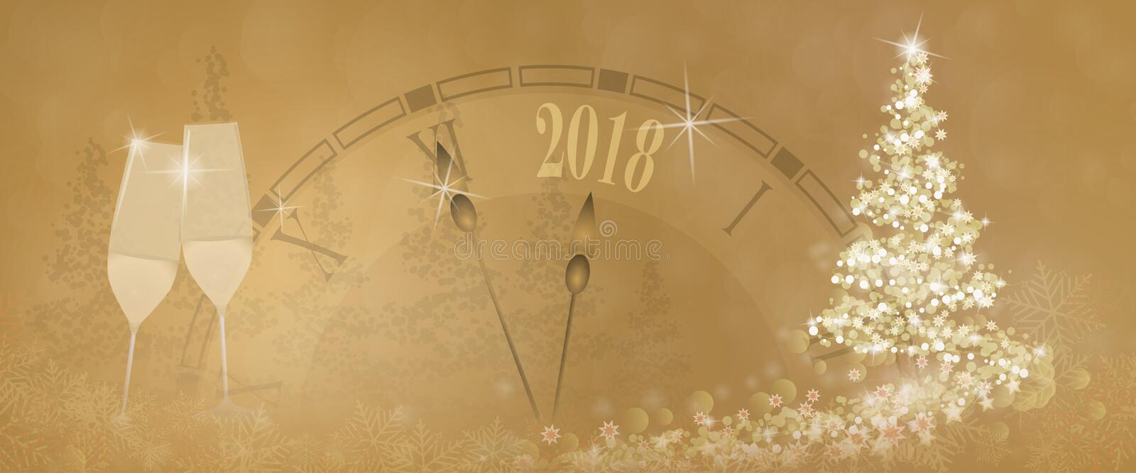 Happy New Year - clock and glasses royalty free illustration