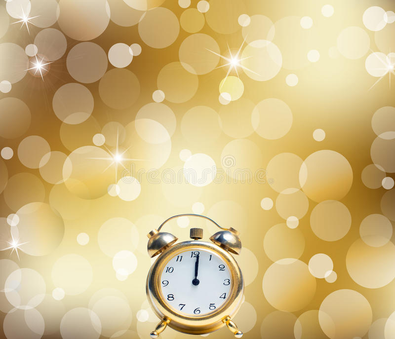 A Happy New Year Clock Striking Midnight abstract Lights on gold. Background stock illustration