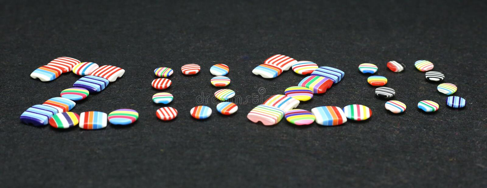 Happy new year 2020 clothing brand colorful buttons Photography. Merry Christmas 2020 sale on tailor shop. Happy new year 2020 clothing brand colorful stock photos