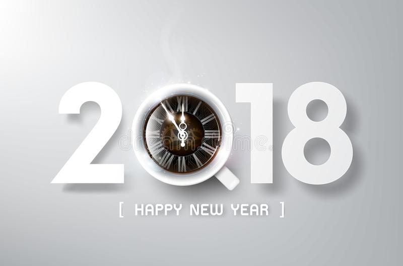 Happy New Year 2018 with coffee and antique clock, relax time and celebration concept, vector illustration stock illustration