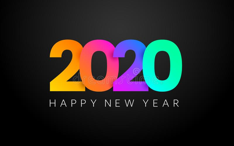 Happy New Year color banner. 2020 poster. Merry Christmas minimal composition on dark background. Colorful greeting card royalty free illustration