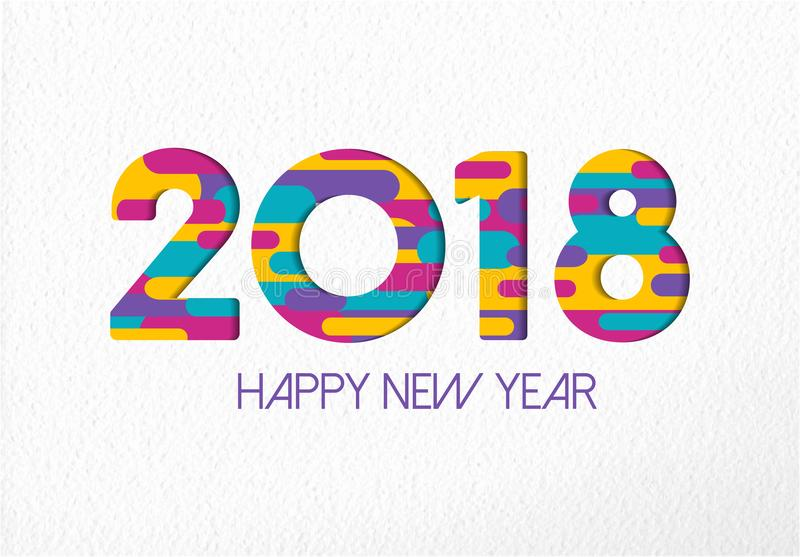 Happy New Year 2018 color paper cut number card royalty free illustration