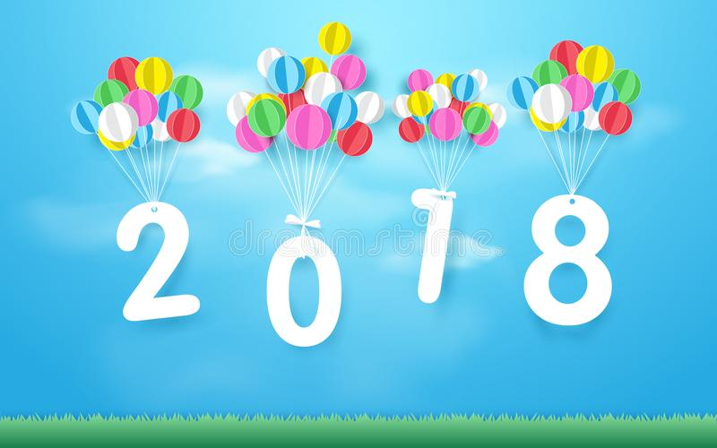 Happy new year 2018 with Colorful balloons flying over grass. Paper art and craft style stock illustration