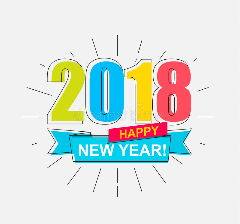 2018 Happy New Year. Colorful banner for new year. Vector illustration