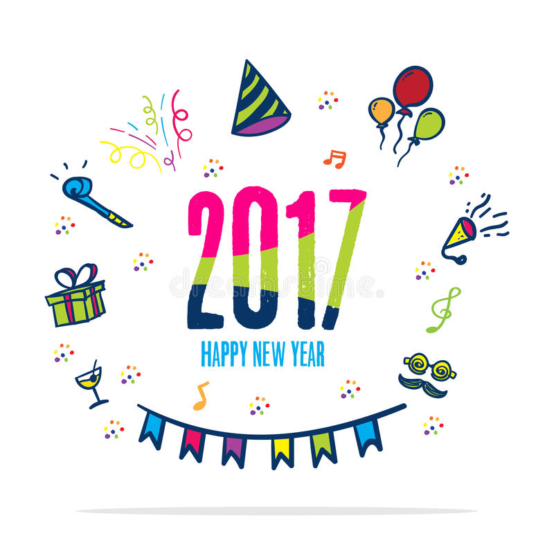 2017 happy new year colorful color with doodle party icon on whi stock illustration