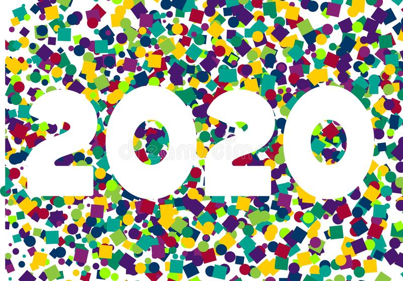 Happy New Year colorful confetti 2020 background stock illustration
