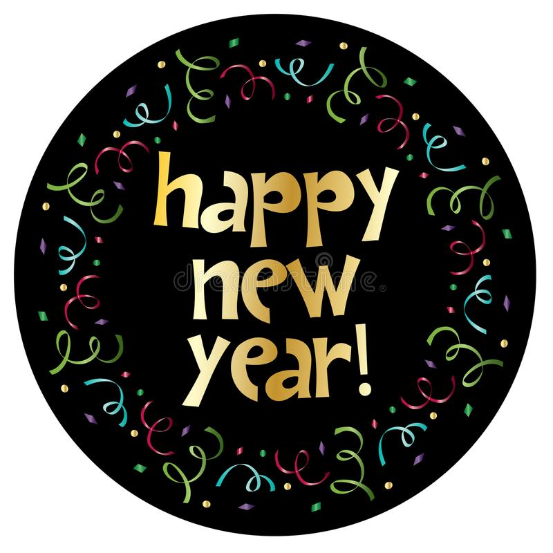 Happy new year in colorful confetti circle frame stock illustration