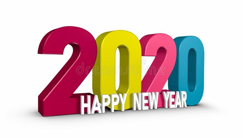 2020 Happy New Year - Colorful 3D Illustration - Isolated On White Background stock illustration