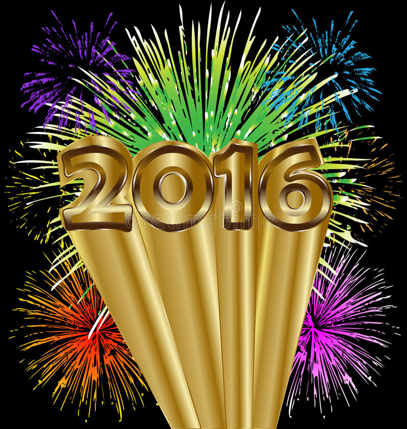 2016 Happy new year colorful fireworks. Happy new year 2016 colorful fireworks background stock illustration
