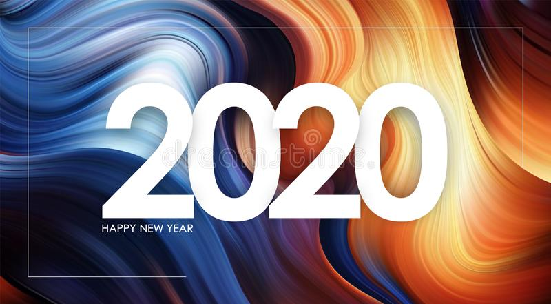 Happy New Year 2020 on colorful flow background Trendy design. Vector illustration: Happy New Year 2020 on colorful flow background Trendy design stock illustration