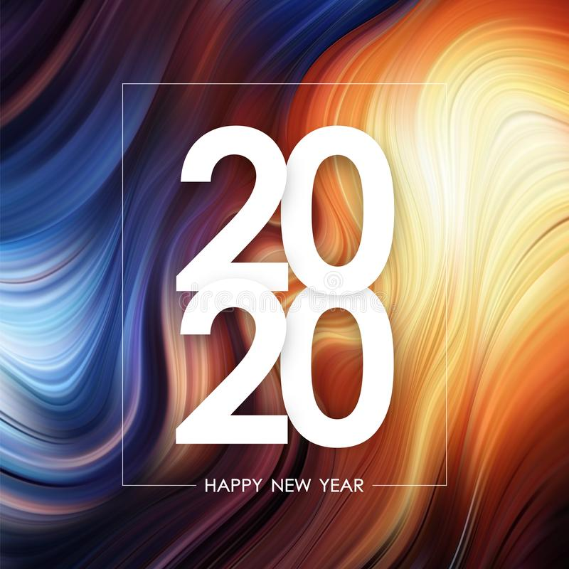 Happy New Year 2020 on colorful flow poster background. Trendy design. Vector illustration: Happy New Year 2020 on colorful flow poster background. Trendy design stock illustration