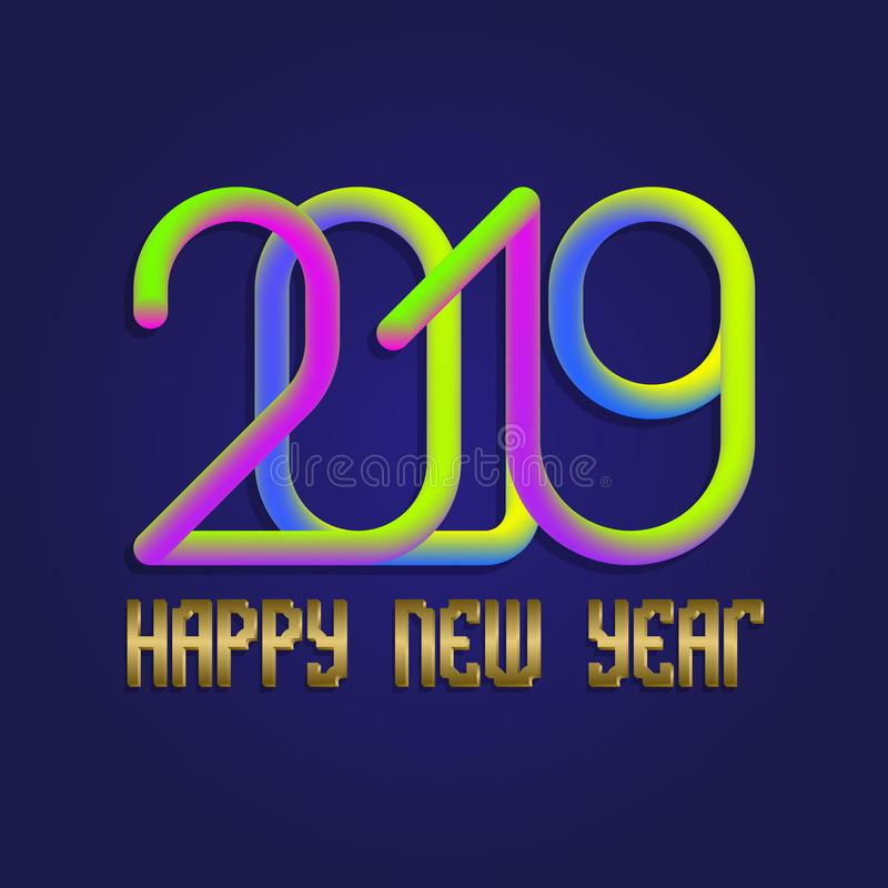 2019 Happy New Year colorful and golden lettering for greeting card design stock illustration