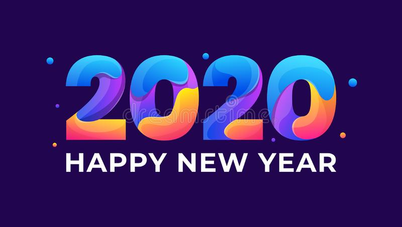 Happy new year 2020 colorful greeting card paper for seasonal holidays banner, flyers, greetings and invitations cards and christm royalty free illustration