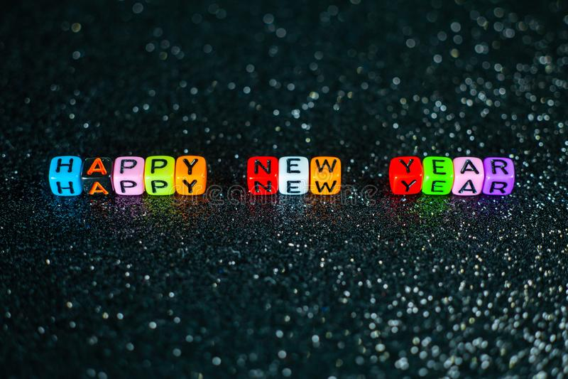 Happy New Year Colorful. Anniversary, background, banner, blue, calendar, card, celebrate, celebration, christmas, confetti, date, decoration, design, eve royalty free stock image