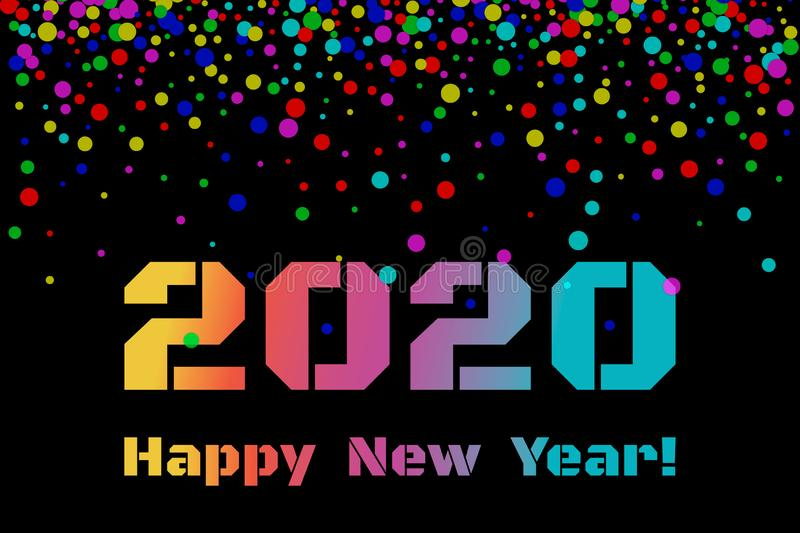 2020 Happy New Year. Colorful numbers, text and confetti on dark background. New Year 2020 greeting card. stock illustration