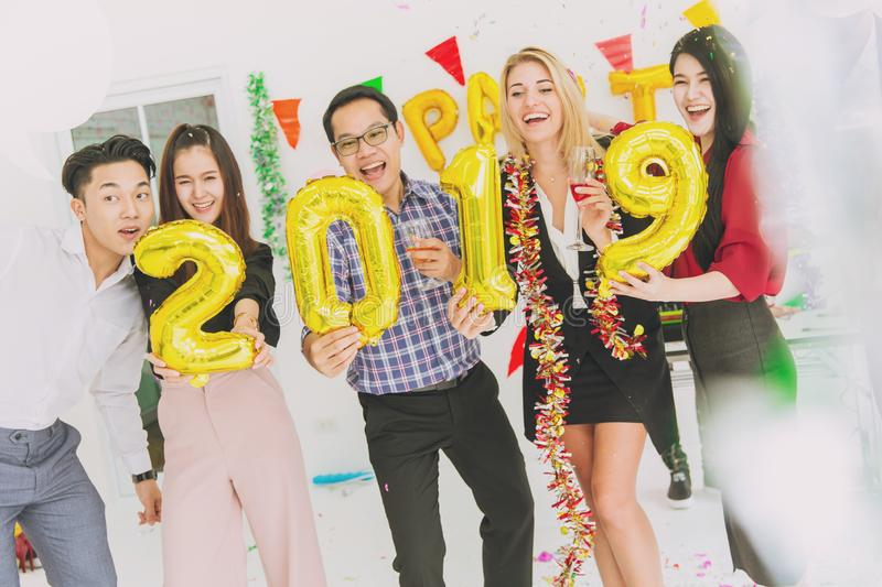 2019 Happy new year colorful party in office business people royalty free stock photos