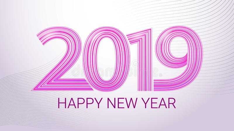 Happy New Year 2019. Colorful vector banner. Purple lettering on a white background. vector illustration