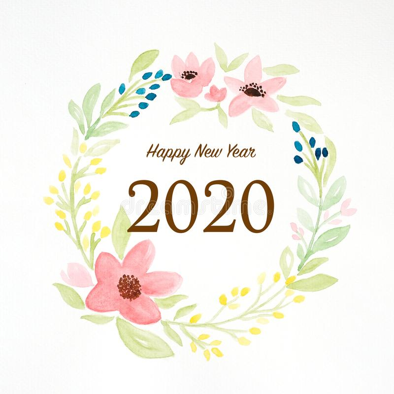 2020 happy new year on colorful watercolor flower wreath on white background, new year greeting card, banner royalty free stock images