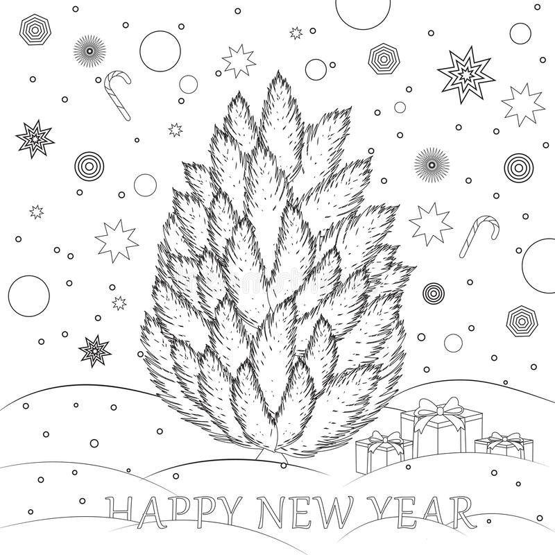 Happy New Year Coloring book for children Christmas tree vector illustration