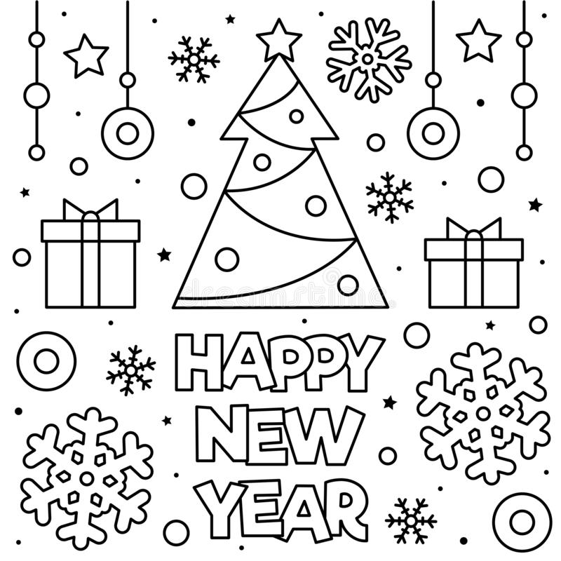 happy new year coloring page vector illustration black white