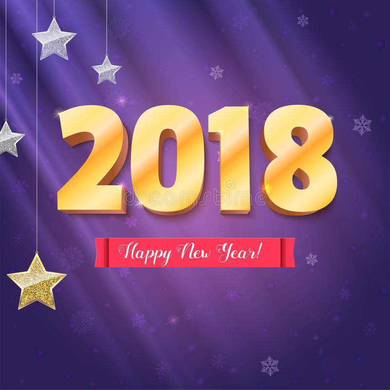 Happy New Year 2018 is coming. Gold numerals and silver stars. Happy New Year 3D illustration on backdrop with royalty free illustration