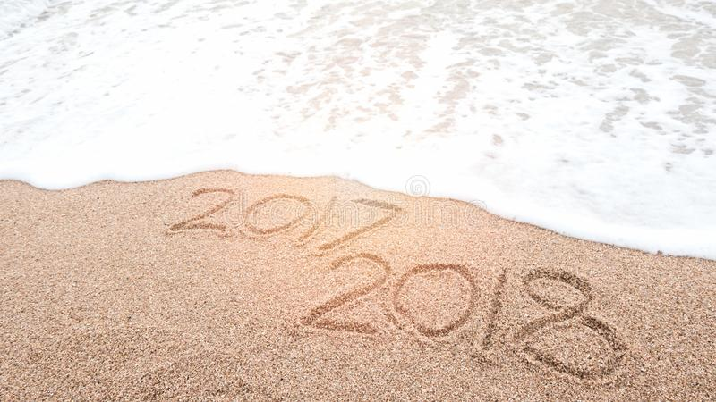 Happy new year 2018 is coming and replace 2017 concept. royalty free stock image
