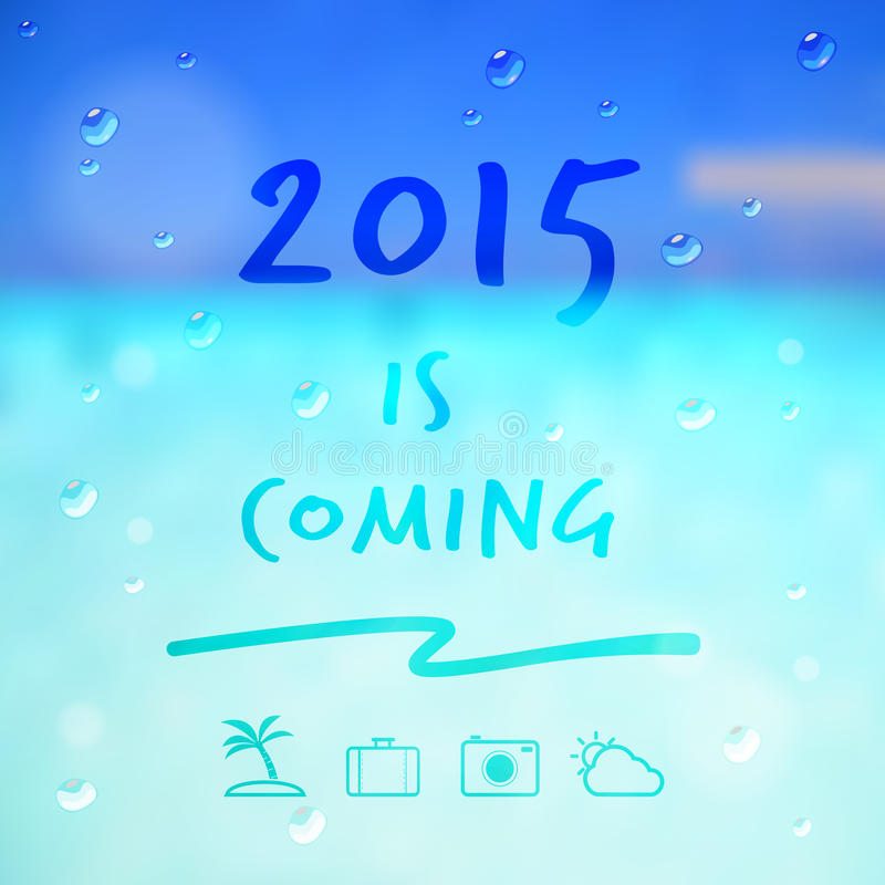 Happy new year 2015 is coming word and travel icon on summer sea stock illustration