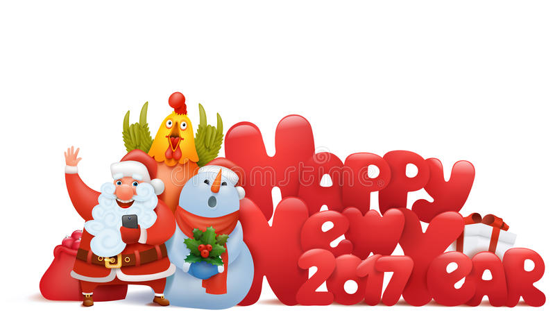 Happy new year composition with santa claus snowman and rooster vector illustration
