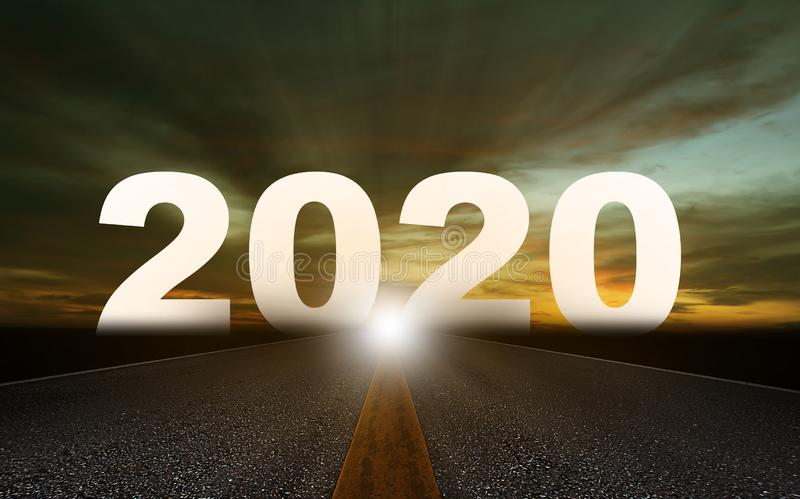 Happy New Year Concept. Background, road to 2020, future ahead stock image