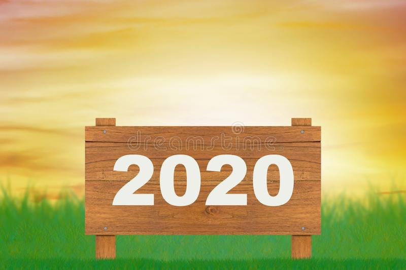 Happy New Year Concept. Background, wood sign of 2020, future ahead vector illustration