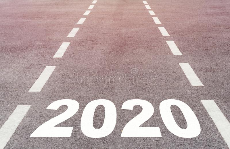 Happy New Year Concept. Background, road to 2020, future ahead stock images