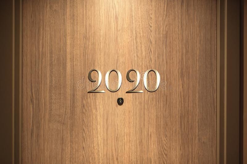 Happy New Year 2020 concept, lettering on the Hotel door.  royalty free stock photos