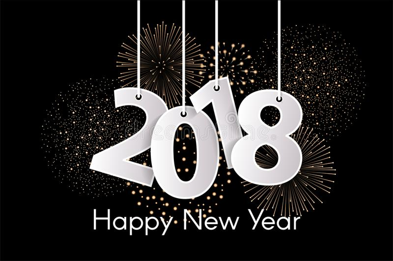 Happy New Year 2018 concept with paper cuted white numbers on ropes with fireworks. Vector illustration stock illustration