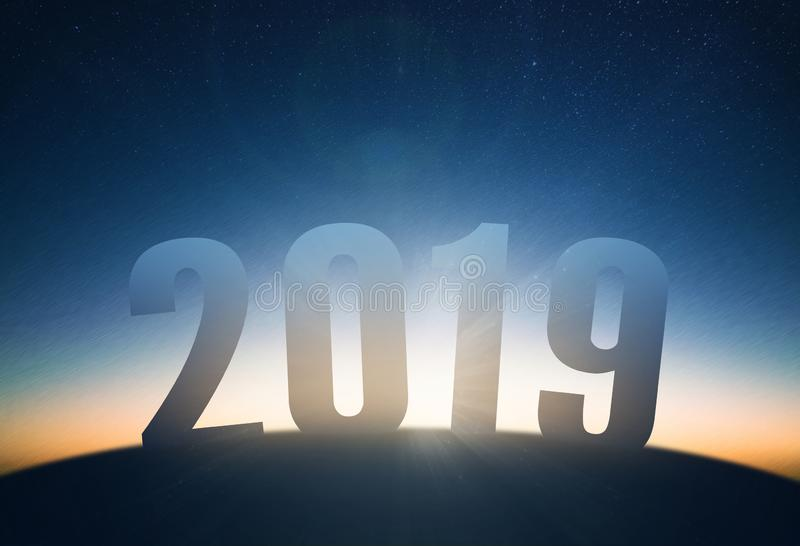 new year 2019 concept. sunrise and star sky stock image