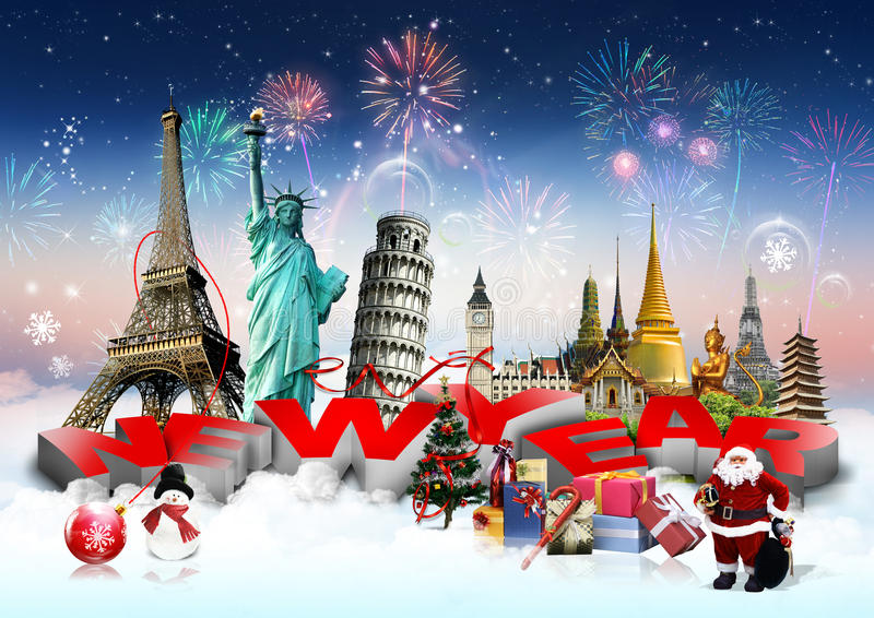 Happy New Year concept. On travel background stock illustration