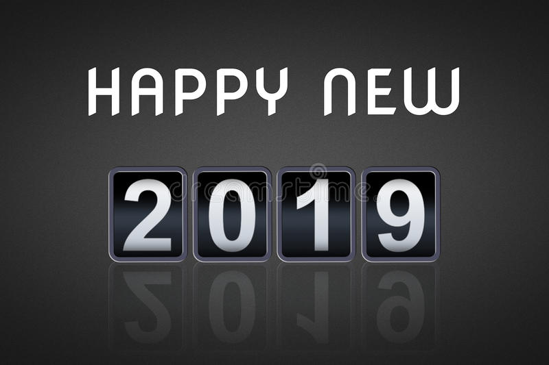 2018 2019 happy new year concept vintage analog counter countdown timer, retro flip number counter from 2018 to 2019 stock photo