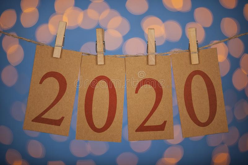 Happy New Year 2020 Concepts Clipped Cards and Lights royalty free stock photos