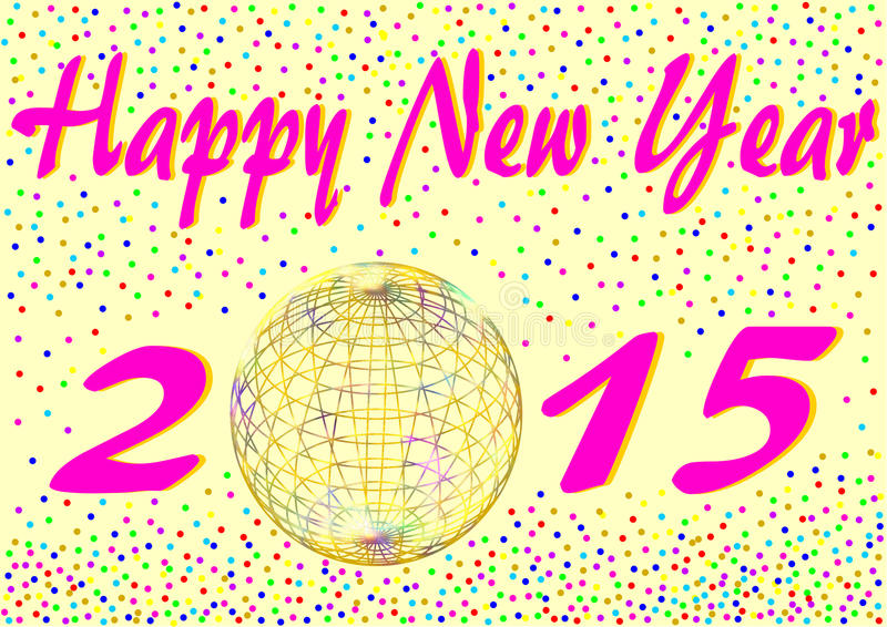 Happy New Year 2015 With Confetti Stock Illustration