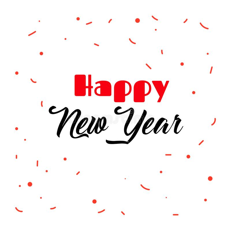 Origami gold lettering of Happy New Year. Happy New Year and confetti. Hand drawn elegant brush lettering vector illustration