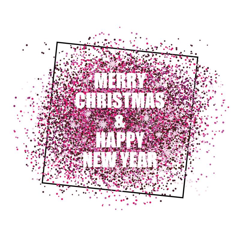 Happy new year with shiny confetti background template. Happy new year confetti postcard decoration. For print and web winter seasonal greetings. Retro style royalty free illustration