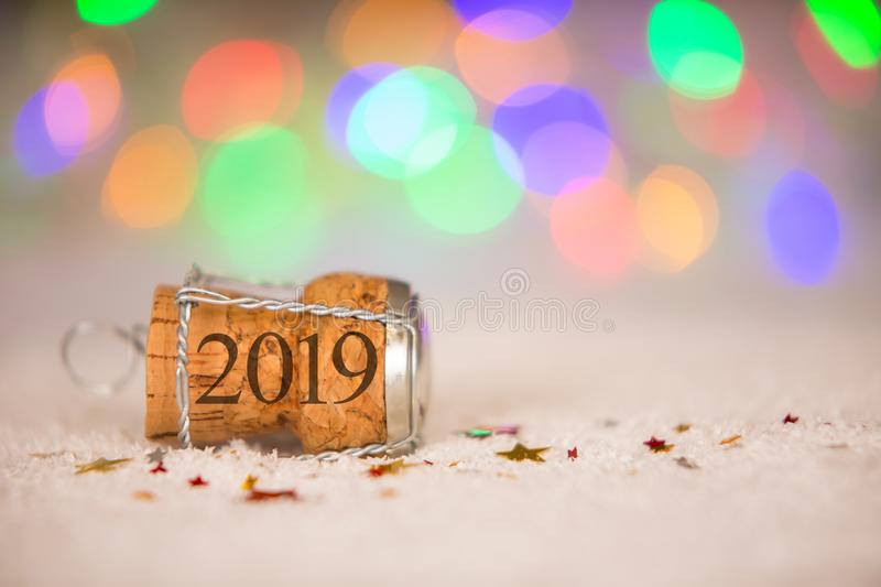 Happy New Year 2019 Cork on the Snow royalty free stock photography